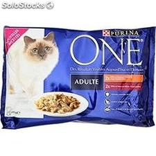 Pack 4X85G one adulte eminces poulet/boeuf purina one