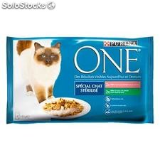 Pack 4X85G specila chat sterilise saumon/dinde purina one