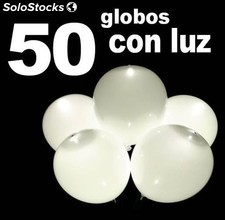 Pack 50 Globos con luces led blancos