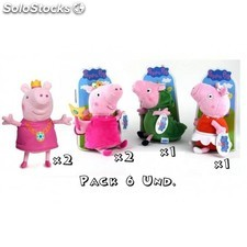 Pack 6 Peluches Peppa Pig 27cm