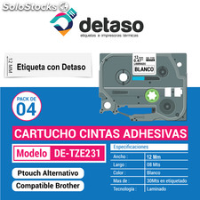 Pack Cintas Tz231 Tze231 12mm etiquetas adhesivas compatible brother