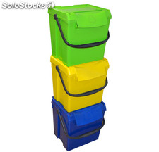 Pack Contenedor 3 Residuos Apilable 50 Litros