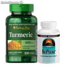 Pack curcuma 100 caps y bioperine 120 tabletas 10 mg