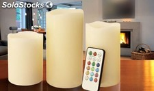 Pack de 3 velas led con cambio de color