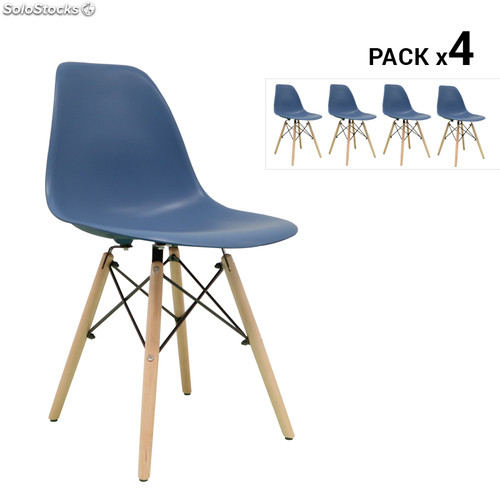 pack de 4 chaises nordique tower bleu petrole. Black Bedroom Furniture Sets. Home Design Ideas