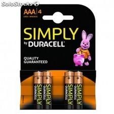 Pack de 4 pilas duracell simply - LR03 - 1.5V - alcalina AAA