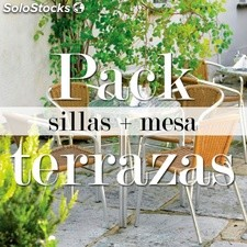 Pack de 4 sillas + 1 mesa ideal para terrazas