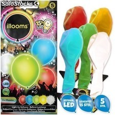 Pack de 5 globos luminosos Illoms con LED - Color : Verde y azul