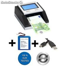 Pack detector de billetes falsos ec350 euro + batería + cable usb