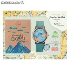 ✅ pack ecologico vegetal watches reloj + libreta papel reciclado + papel