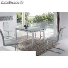 Pack mesa extensible cristal + 4 sillas