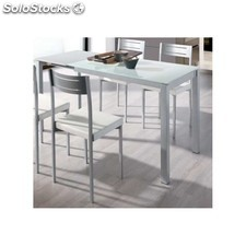 Pack mesa extensible cristal blanca 4 sillas colores