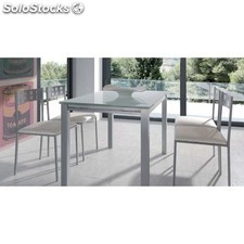 Pack mesa extensible mediana cristal +4 sillas