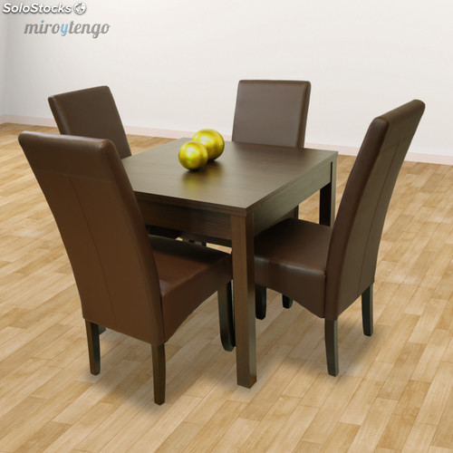 Pack mesa extensible y 4 sillas tapizadas polipiel wengu for Mesa salon comedor