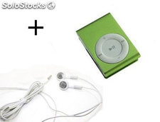 Pack Mini Reproductor Mp3 verde con enganche de clip y auriculares