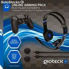 Pack PS4 Gioteck mando + auriculares + cables + alfombrilla PS4