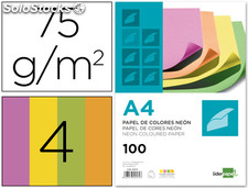 Papel color liderpapel A4 75G/M2 neon 4 colores surtidos paquete de 100