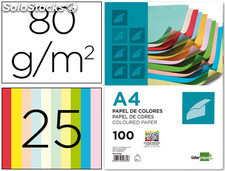 Papel color liderpapel a4 80g/m2 25 colores surtidos paquete de 100