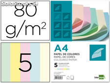 Papel color liderpapel a4 80g/m2 5 colores surtidos paquete de 500