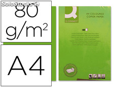 Papel color q-connect din a4 80gr verde intenso paquete de 100 hojas