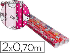 Papel fantasia infantil hello kitty rollo de 2x0,70 mt papel 60 grs