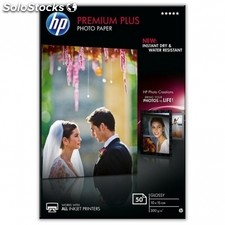 Papel fotografico satinado hp CR695A premium plus photo paper 100X150MM 300G/M2