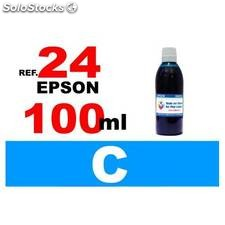 Para cartuchos Epson 24 xl botella 100 ml. tinta compatible cian