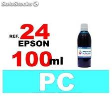 Para cartuchos Epson 24 xl botella 100 ml. tinta compatible cian photo