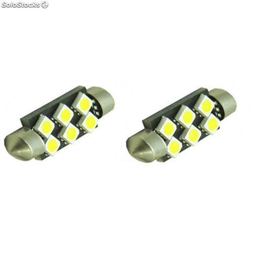 Pareja bombillas festoon can bus 42mm 6led