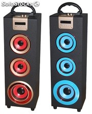 parlante portatil 2.1ch subwoofer recargable usb sd Fm led pantalla s06