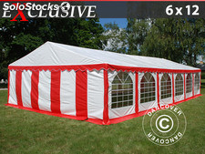 Partyzelt Exclusive 6x12m PVC, Rot/Weiß