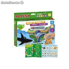✅ pasta alpino para modelar magic dough sea world caja de 6 colores de 40