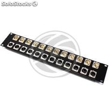 Patch panel 12 port rack19 XLR3-male 12 female RCA-port 2U (XQ36)