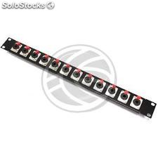 Patch panel 12 portas Rack19 soquete 1U jack6.3mm (XQ26)