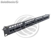 Patch panel 24 RJ45 Cat.6 UTP 1U negro con peine (RD40)