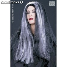 Peluca morticia mechones blancos color negro