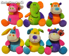Peluche animaux colores 6 ass 23 cm