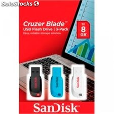 Pendrive Sandisk Cruzer BladeT USB Flash Drive 3-pack 8GB Black, Blue&White