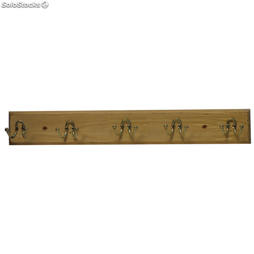 Perchero De Madera Para Pared Con 5 Ganchos - Percheros-pared