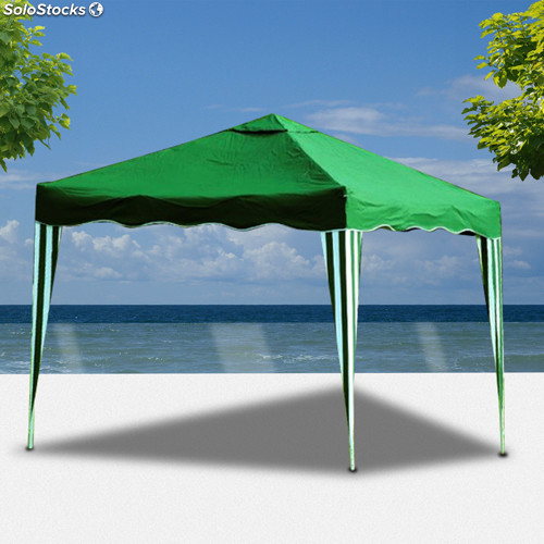 Pergola para terraza jardin o playa plegable color verde for Carpas jardin carrefour