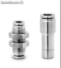 Peumatic push-in fittings straight bulkhead stainless steel