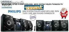 Philips mini system fwm603x78 c/400w + MP3 & usb & o fwm 417. Feliz Natal $ caiu