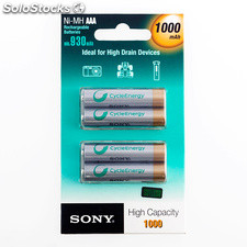 Piles rechargeables Sony Ni-MH AAA 1000 mA 1,2V (pack de 4)