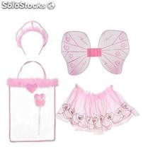 Pink fairy set: headband, skirt, wings,stick and decorated bag