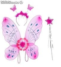 Pink fairy set: headband, wings and fairy stick