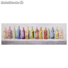 Pintura botellas multicolor lienzo 150x50cm