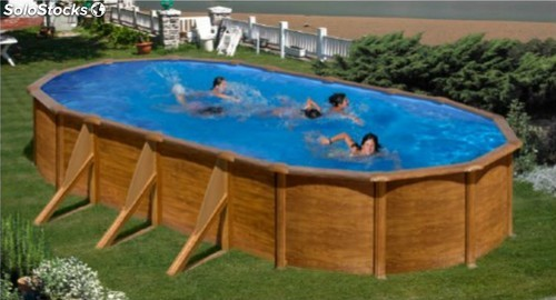 Piscina PACIFIC 610 x 375 x 120 cm pared de acero decoración madera Astralpool