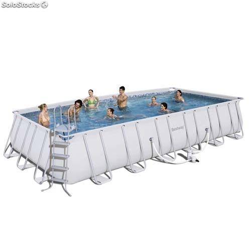 Piscina rectangular desmontable estructura metalica con for Piscina desmontable rectangular
