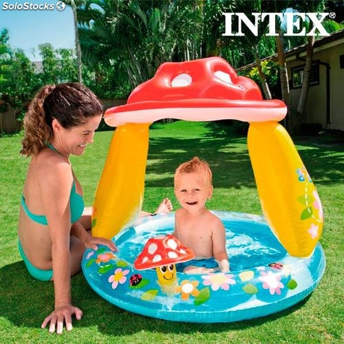 Piscine gonflable avec parasol champignon intex for Piscine gonflable intex