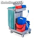Plastic multi-purpose cleaner's trolley - mod. ca1615 - n. 2 plastic buckets lt.